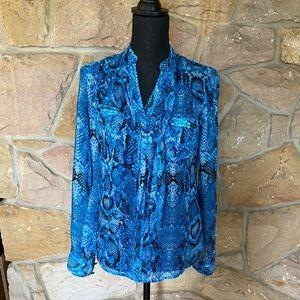 Cache blue snake print blouse